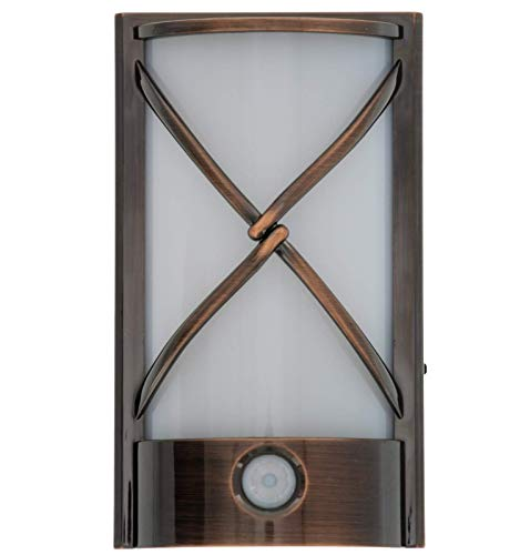 Capstone Motion Activated LED Plugin Night Light - with Automatic Dusk to Dawn Sensor Feature, Decorative Sconce Lights Up Your Home - Covers Unused Outlet Plugs - Rustic, Oil Bronze