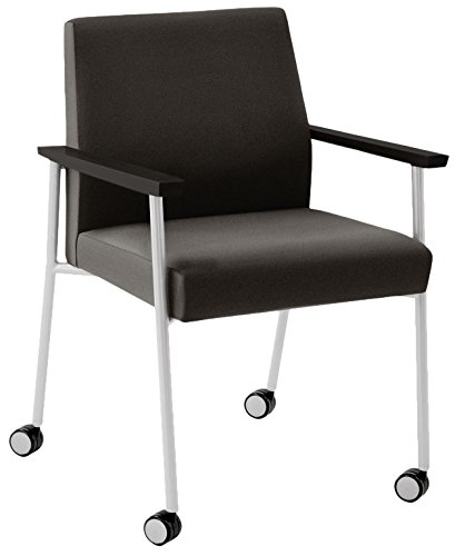 (Lesro Mystic Oversize Guest Chair with Casters in Silver Frames & Black Arms, Core Macro)