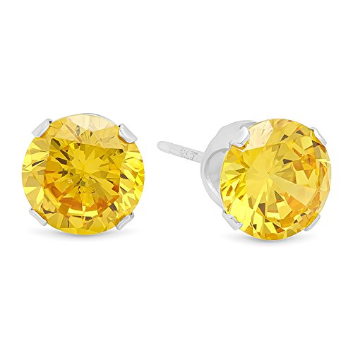 Round Cut Simulated Citrine Yellow 7mm CZ Sterling Silver Stud (Genuine Large Citrine Ring)