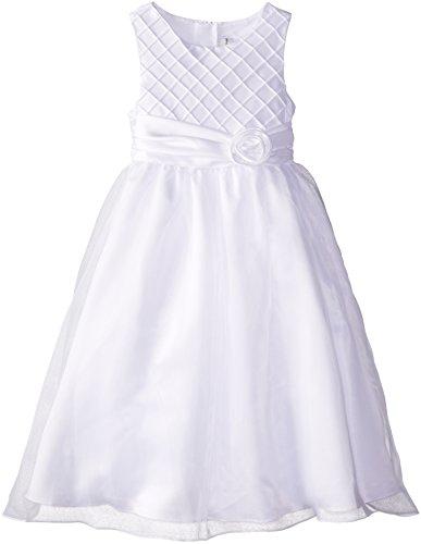 Rare Editions Big Girls' Lattice Bodice Ceremony Dress, White, 16