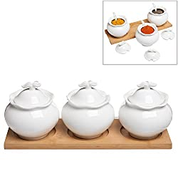 Set of 3 White Ceramic Dry Condiment Pots / Sugar Serving Bowls / Spice Jars w/ Bamboo Tray - MyGift®