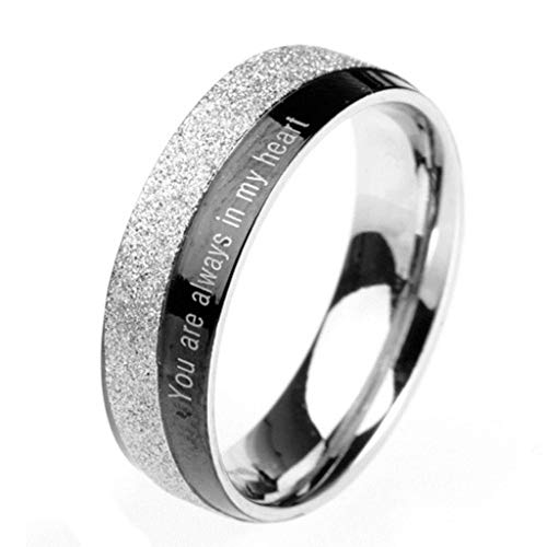 Aokarry Jewelry Men Stainless Steel Ring Promise Anniversary Polished Crave You are Always in My Heart Black Silver Size 8