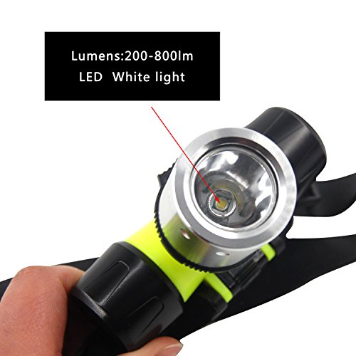 AGOOL Brightest and Best LED Headlamp 800 Lumen Flashlight- Improved LED, Rechargeable Headlight flashlights Waterproof Hard Hat Light, Bright Head Lights, Running or Camping headlamps by AGOOL (Image #3)