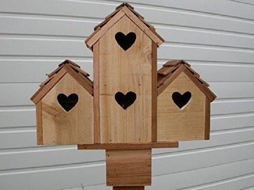 Cedarnest Cedar Birdhouse with 4 Separate Compartments Hearts
