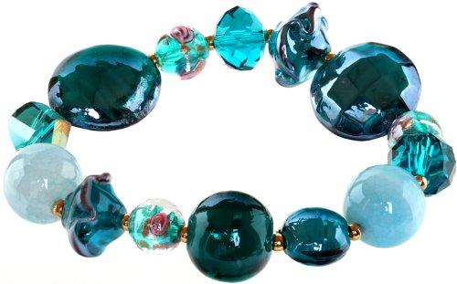 Genuine Italian Murano Glass - Ace Of Diamonds Iraine Italian Murano Glass Stretch Bracelet (Turquoise)