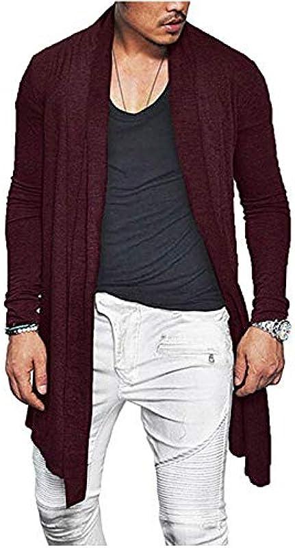 NZBZ Autumn Men Cardigan Slim Fit Plissee Langarm Casual Sweater Mantel Tops: Odzież