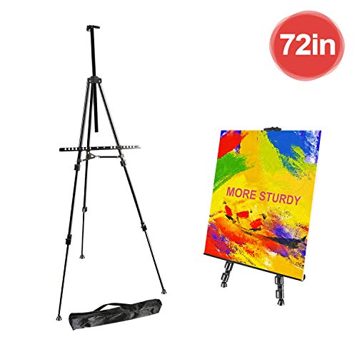 "FUDESY 72"" Easel Stand,Extra Sturdy Black Aluminum Metal Display Easel Artist Easel Tripod Adjustable Height from 22"" to 72"" for Table-Top/Floor Painting,Displaying and Drawing with Portable Bag"