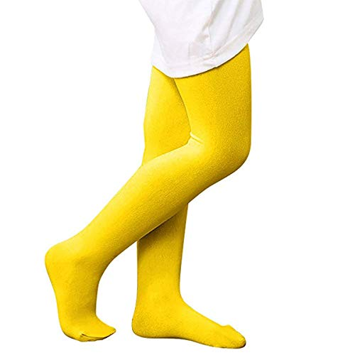 Kids Girls Winter Warm School Uniforms Leggings Semi Opaque Basic Elastic Full Length Dance Stretchy Footed Tights Yellow M -