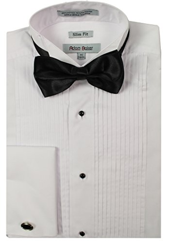 Adam Baker Men's 1923 Slim Fit Wingtip Collar French Cuff Tuxedo Shirt - White - 16.5 4-5 by Adam Baker