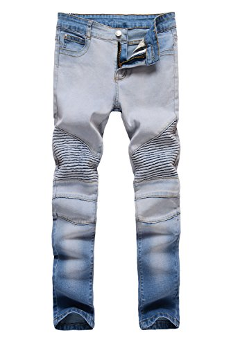OBT Boy's Vintage Slim Moto Biker Skinny Ripped Distressed Stretch Fashion Fit Denim Jeans 12