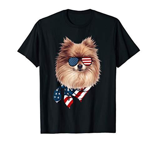 American Flag Pomeranian Patriotic 4th Of July Tshirt