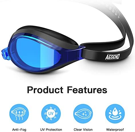 Mirrored Swim Goggles No Leaking Anti Fog UV Protection Triathlon Swim Goggles with Free Protection Case for Adult Men Women Youth Kids Child,Blue /& Black Aegend Swimming Goggles