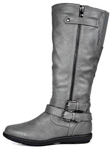 Winter DREAM Boots Grey Faux veronica PAIRS Knee Lined Women's Fur High 1pH7wgq