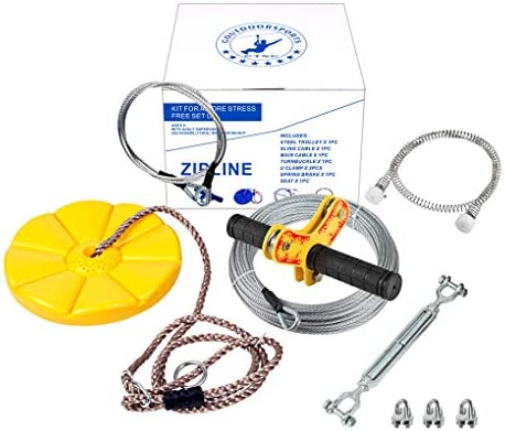CTSC 75 Foot Zip Line Kit with Stainless Steel Spring Brake and Seat, Ziplines for Backyards, Bring Colorful Fun and Enjoyment with The Most Complete Accessories Zipline Up to 250lb Yellow