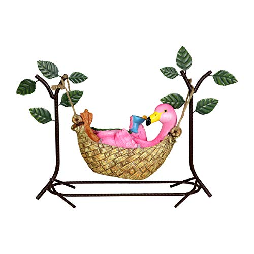 Exhart Flamingo in a Hammock Holding a Martini Glass Garden Statue w/Solar LED Lights - Hand-Painted Flamingo Resin Statue Features Solar LED Accent Lights - Garden Art Flamingo Decor, 8 -