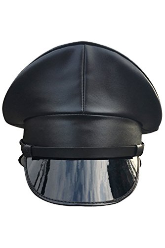 CHECKIN Thailand Military Officer Cap PU Leather Police Hat Performance Stage Show Night Bar Hat (57cm = M = US 7) -