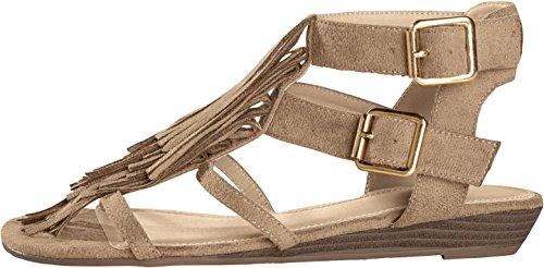 ESMARA® Damen Sandalen Wild-Leder-Look beige