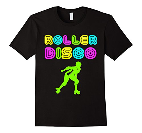 Mens Roller Disco Retro 70s And 80s Neon Party T Shirt XL Black