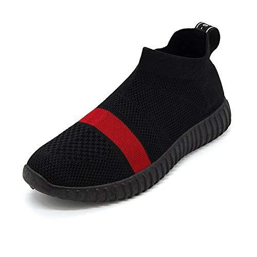Zapatillas XINGMU Transpirable Deportivos Mujer Rojos Calzado De Calcetines Pisos Resbalar Primavera Negro Zapatos En rojo Mujer Sock Zapatillas Malla EHHrqw