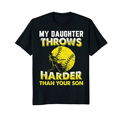 (Funny Softball Dad Shirts My Daughter Throws Harder Tees)