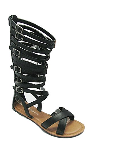 Black Tanya 528 Gladiator Wild Ankle Sandal Flat Strap Wrap Caged Diva 1HUSqwv