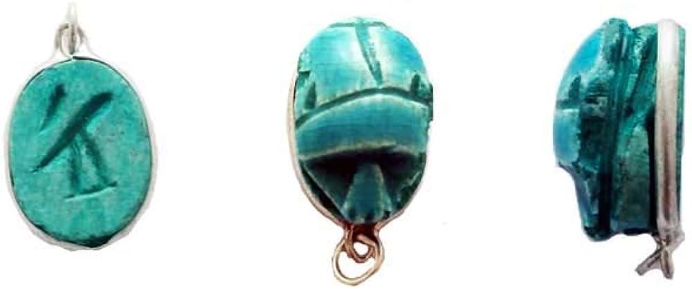 Colgante del Escarabajo de Piedra engarzado con Plata, Amuleto para la Buena Suerte Desde el Antiguo Egipto