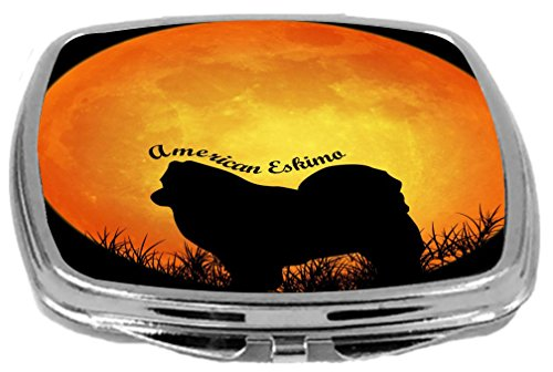 houette by Moon Design Compact Mirror, American Eskimo, 3 Ounce ()