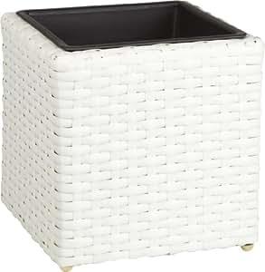 Gartenfreude 4000-1035-208 28 28 xcm Resin Wicker Planter Indoor and Outdoor Use Watertight Plastic Insert - White Finish