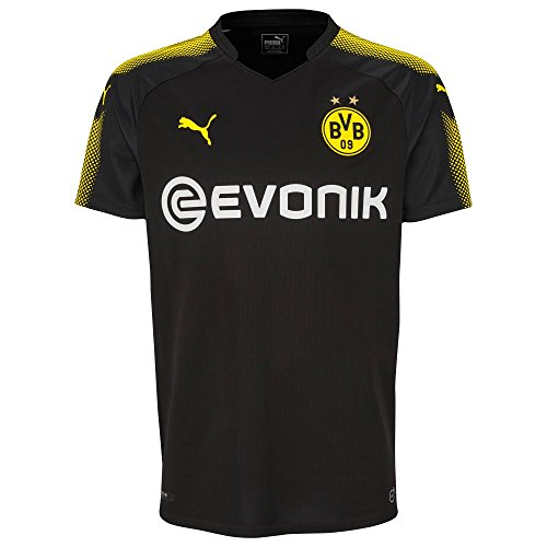 PUMA Borussia Dortmund FC 2017/18 Short Sleeve Away Jersey - Adult - Black/Yellow - Small Adult Away Replica Jersey