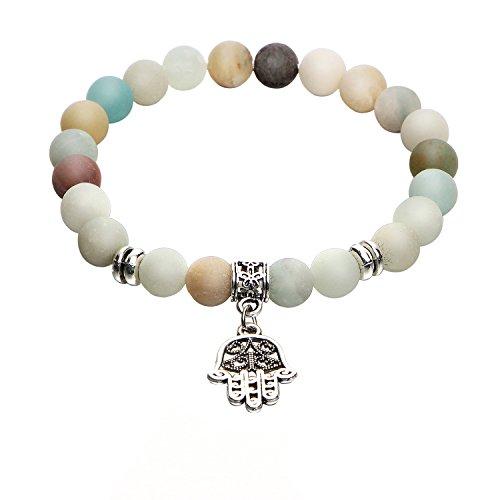 iffuser Bracelets for Men Women Yoga Natural Stone Stretch Beaded Bracelet with Tree of Life Pineapple Lotus OM Hamsa Symbol Charm ()