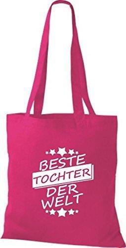 ShirtInStyle Bolso de tela Bolsa de algodón Mejor TOCHTER der Welt Fucsia