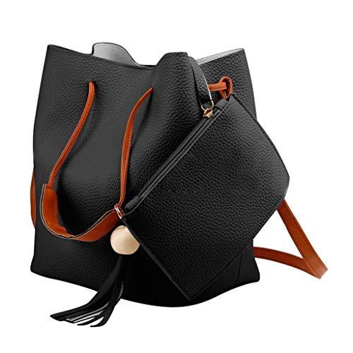 Fashion Women Tassel Bucket Handbag Tote Shoulder Crossbody Bags + Purse Set