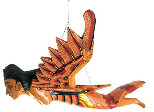 OMA Mermaid Flying Devi Balinese Goddess of Luck Wood Mobile - Wood Carved Brand