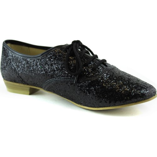 Womens Glitter Oxford Sneaker Flats Lace Up Pointy Toe Loafer Casual Fashion Shoes Black rYJLcP