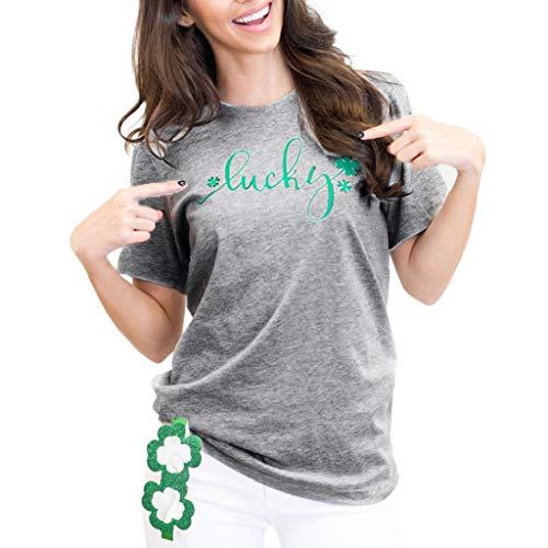 Willsa Women Casual St. Patrick's Day Printed Cotton Short Sleeve T-Shirt Tops Tees Gray