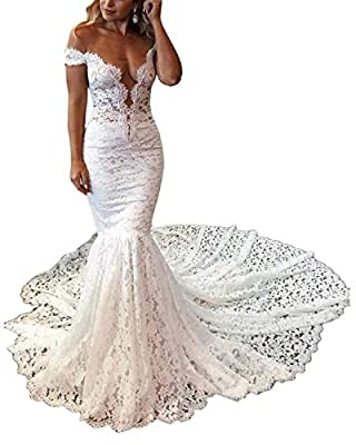 Lily Wedding Womens Long Sleeve Lace Mermaid Wedding Dresses for Bride 2019 Off Shoulder Bridal Gowns
