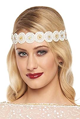 Hazel Vintage Inspired Flapper Headband in Cream Gold