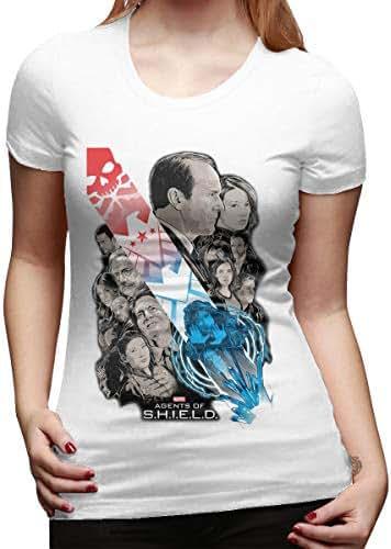 Syins Women Design Cute Tee Shirt Agents of Shield Short Sleeve Funny T-Shirts Black