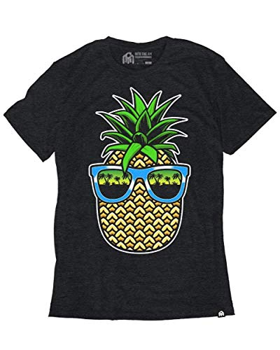 (INTO THE AM Pineapple Vice Men's Heathered Graphic Tee Shirt (Charcoal,)