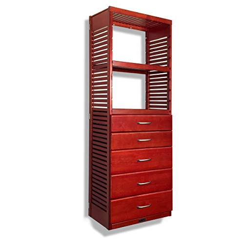 John Louis Home 16in. Deep Storage Tower - with 5 Drawers - 6in, 8in. Deep, Red Mahogany Finish ()