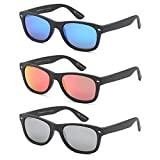 GAMMA RAY 3 Pairs Polarized UV400 Classic Mirror Sunglasses Small - Matte Black