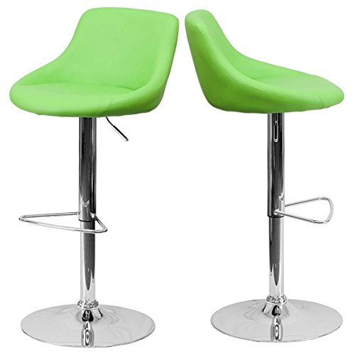 - Modern Design Bar Stool Bucket Seat Design Hydraulic Adjustable Height 360-Degree Swivel Seat Sturdy Steel Frame Chrome Base Dining Chair Bar Pub Stool Home Office Furniture - Set of 2 Green #1985