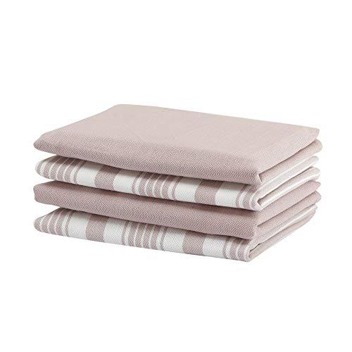 Set of 4 Kitchen Towels, Stripes & solid, 100% Cotton, Eco Friendly and Safe, Suitable for all Kitchens, Pink/White Color, Size 18