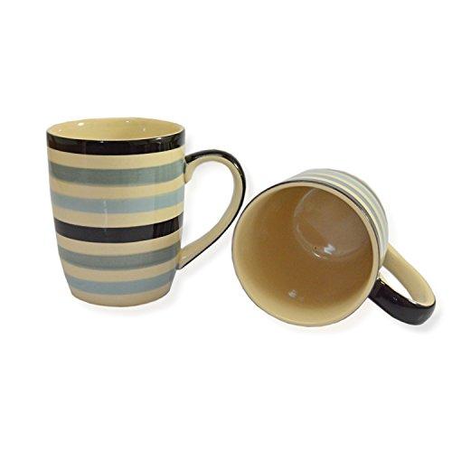CinMin Handpainted Blue Gray Striped Stoneware Coffee Mug Set of 2
