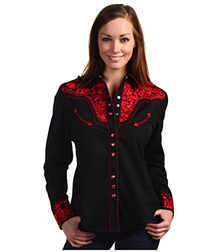 Scully Women's Floral Embroidered Western Shirt Crimson Small