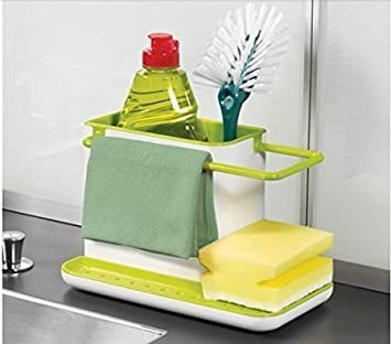 Gade Kitchen Sink Tidy Self Draining Sink Caddy With Base Stand Organizer  Brush Sponge Cleaning Cloth