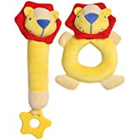 2 Count HollyHOME Plush Lion Plush Rattle Toy