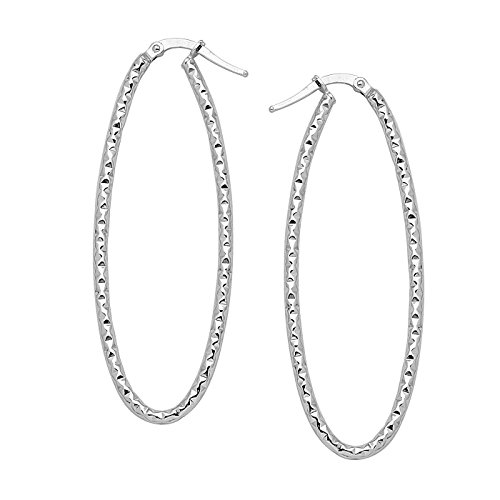 14k White Gold Euro Hoop Earrings with Polished Finish Wave - 14k Wave Gold Earring Design