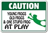 Caution Young Frogs Old Frogs At Play Novelty Sign | Indoor/Outdoor | Funny Home Décor for Garages, Living Rooms, Bedroom, Offices | SignMission Animal Jokes Farm Country Sign Wall Plaque Decoration