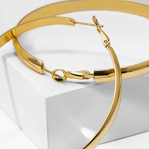 5139f47d0c846 Large Wide Flat Gold Hoop Earrings Shiny 60mm Thick Gold Hoops for Women